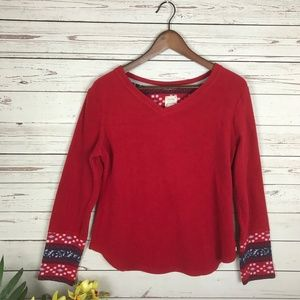 Lucky Brand Red V-Neck Fleece Size Large - U7
